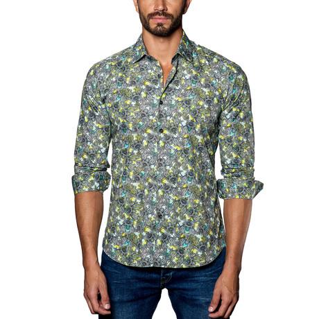 Paisley Long Sleeve Shirt // Green + Grey