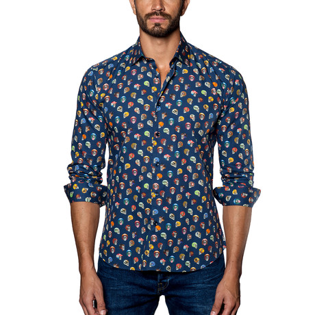 Woven Button-Up // Navy + Multi (S)