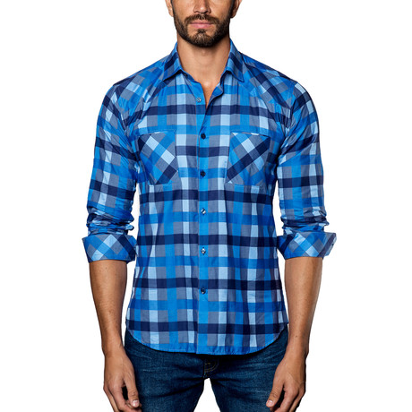 Plaid Woven Button-Up // Multi Blue (S)