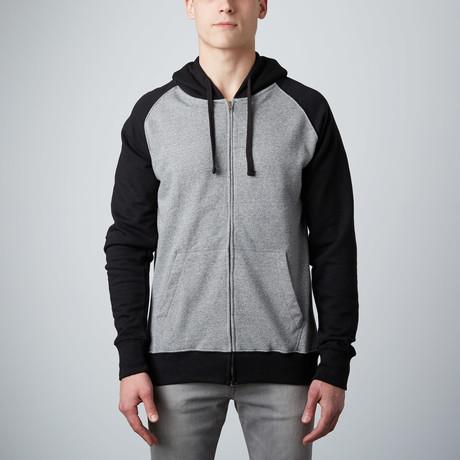Raglan Sleeve Zip Hoody // Black + Ash (S)