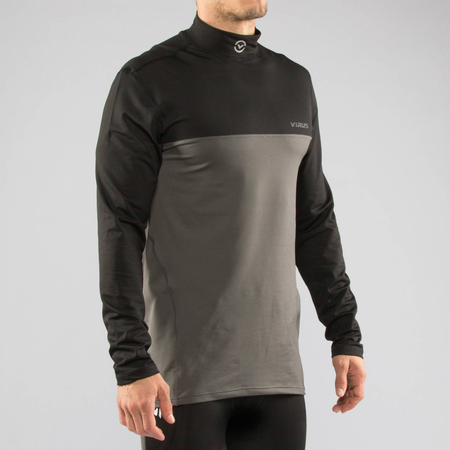 Stay Warm Long Sleeve Shirt Black Grey M Menswear