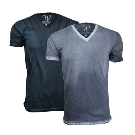 Ultra-Soft Hand Dyed V-Neck // Vintage Charcoal + Vintage Black // Pack of 2 (S)