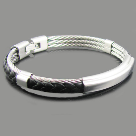 Braided Leather Steel Triple Cable Bangle (White + Black Steel)