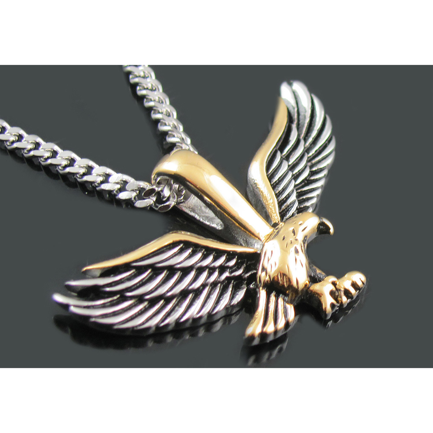 eagle chain pendant rope giant jewelry bold statement necklace tri color patriotic large pin