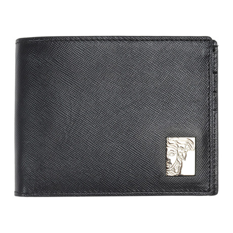 Pebbled Leather Bi-Fold Wallet With Coin Pouch // Black