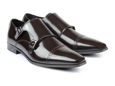 Versace Collection Upscale Sneakers & Shoes Double Monk Strap Cap Toe Loafer // Brown (Euro: 40) by Touch Of Modern - Denver Outlet