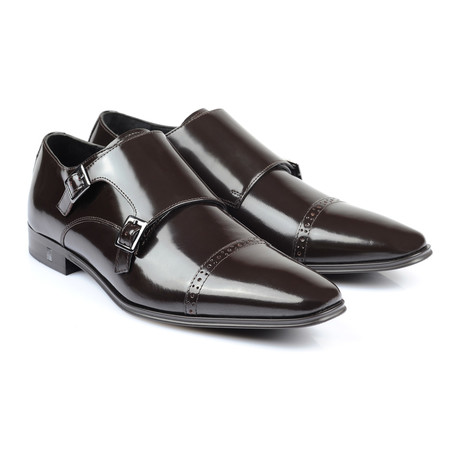 Double Monk Strap Cap Toe Loafer // Brown
