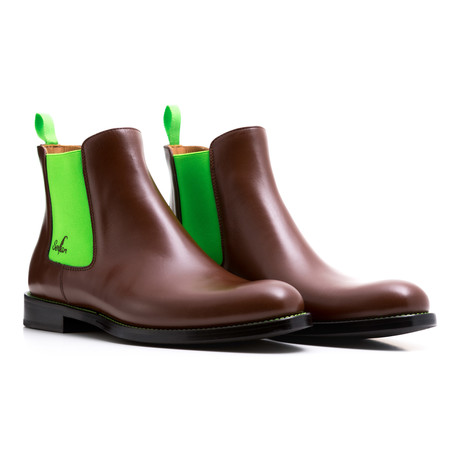 Calf Leather Chelsea Boots // Brown + Green (Euro: 47)