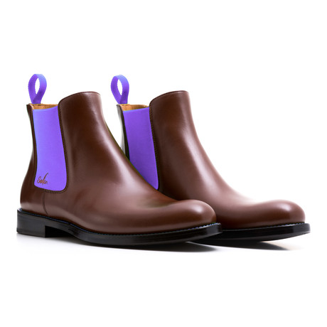 Chelsea Boots Calf Leather // Brown + Purple (Euro: 39)