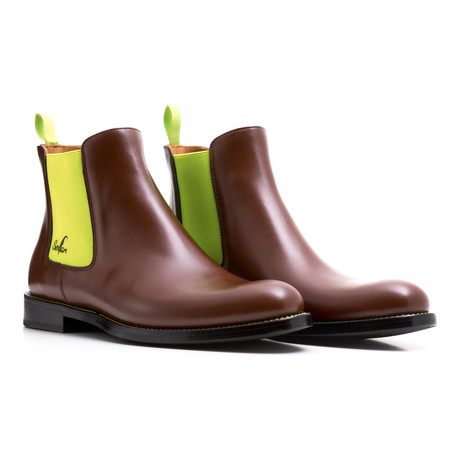 Chelsea Boots Calf Leather // Brown + Yellow (Euro: 39)
