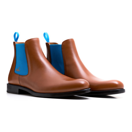 Chelsea Boots Calf Leather // Cognac + Blue (Euro: 39)