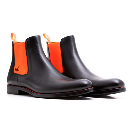 Chelsea Boots Calf Leather // Black + Orange (Euro: 39)