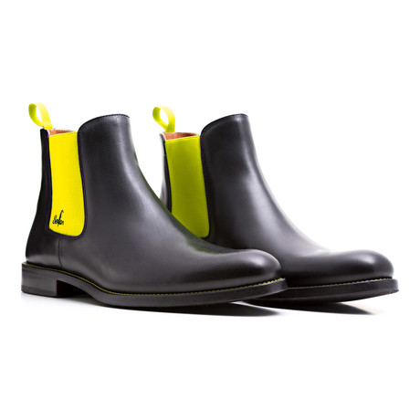 Chelsea Boots Calf Leather // Black + Yellow (Euro: 39)
