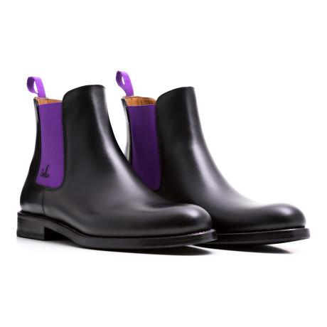 Chelsea Boots Calf Leather // Black + Purple (Euro: 39)