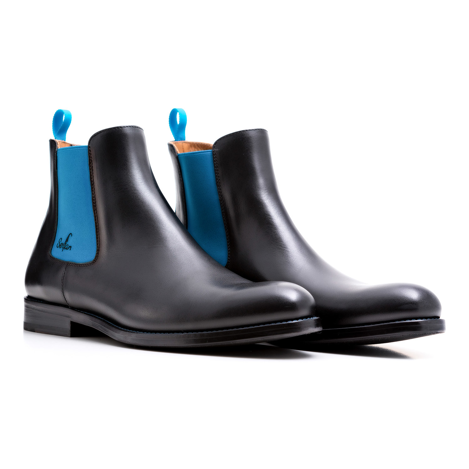 7b31819a4f88 Calf Leather Chelsea Boots    Black + Blue (Euro  39) - Serfan ...