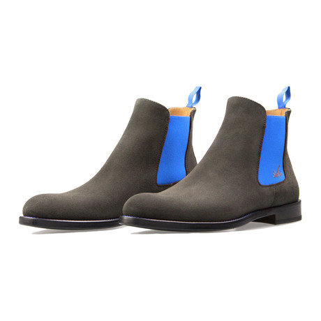 Chelsea Suede Boots // Gray + Blue