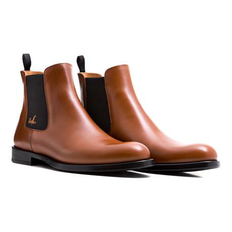 Chelsea Boots Calf Leather // Cognac + Black (Euro: 39)