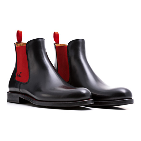 Chelsea Boots Calf Leather // Black + Red (Euro: 39)