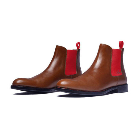 Chelsea Boots Calf Leather // Cognac + Red (Euro: 39)