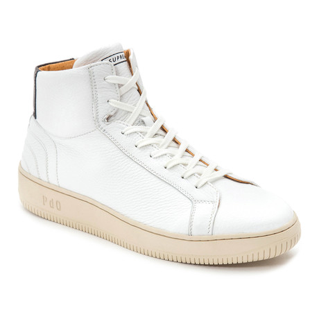 Pantofolo d'Oro // Lace-Up Leather Hi-Top // White + Cream (Euro: 40)
