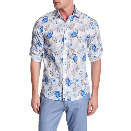 Watercolor Floral Roll Up Linen Shirt // Lavender