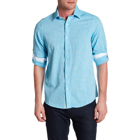 Classic Roll Up Linen Shirt // Aqua
