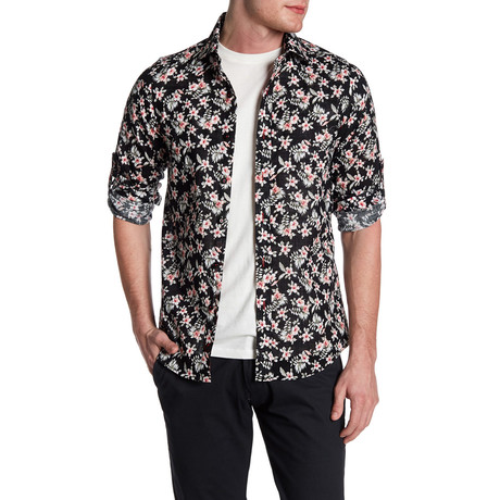 Floral and Fern Roll Up Linen Shirt // Black