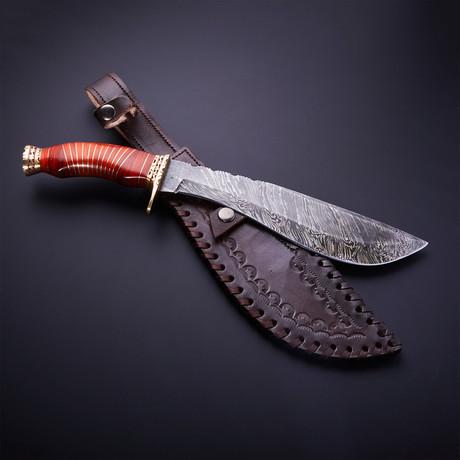 Damascus Steel Kukri Knife + Sheath // Orange