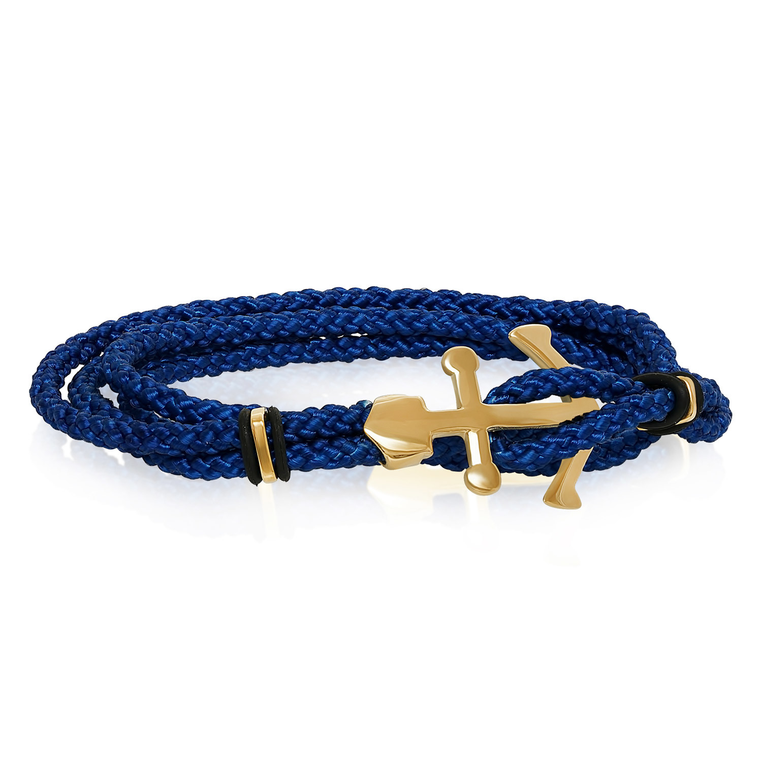 Steel Anchor Clasp Cord Bracelet Gold Royal Blue