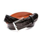 35mm Glossy Crocodile Belt // Black (32)