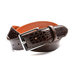 35mm Glossy Crocodile Belt // Coffee Brown (32)