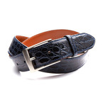 35mm Glossy Crocodile Belt // Navy Blue (32)