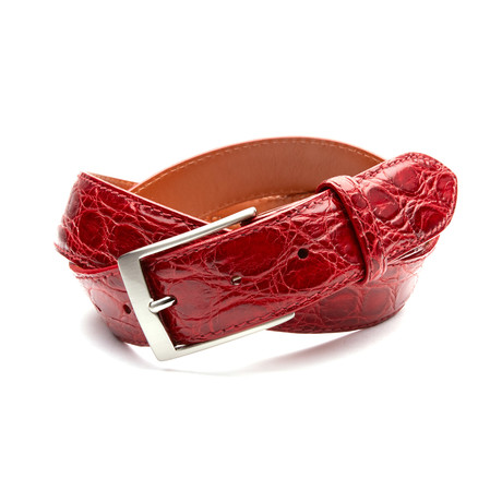35mm Glossy Crocodile Belt // Scarlet Red (32)