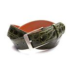 35mm Glossy Crocodile Belt // Olive Green (32)