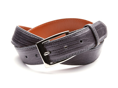 Photo of Andrew Martin Sleek Leather Belts 32mm Lizard Belt // Charcoal Gray (36) by Touch Of Modern