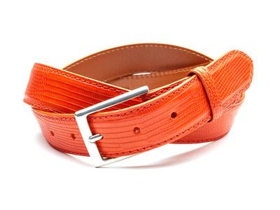 Photo of Andrew Martin Sleek Leather Belts 32mm Lizard Belt // Orange (36) by Touch Of Modern