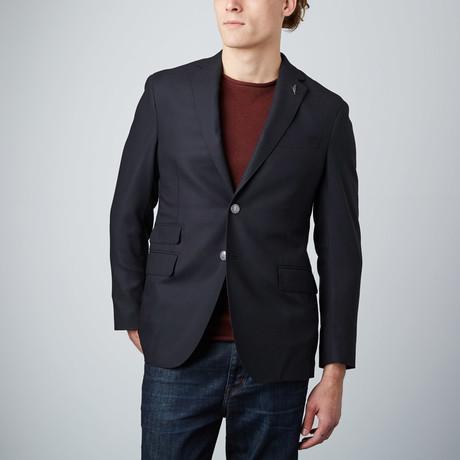 Side Vent Crosshatch Textured Blazer // Black (US: 46R)