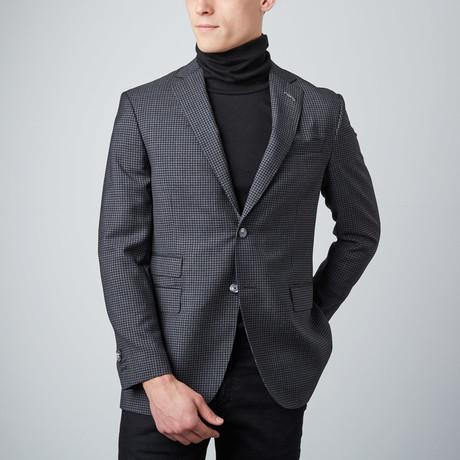 Microcheck Notch Lapel Jacket // Black + Charcoal