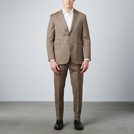 Herringbone Notch Lapel Suit // Brown