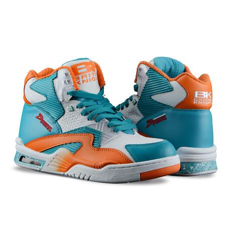 Control Hi Sneaker // White + Sour Blue + S Orange