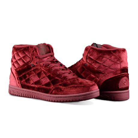 Quilts Velvet Mid Sneaker // Maroon