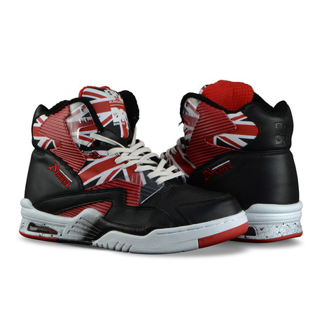 Union Doc Hi Sneaker // Black + White + Mars Red