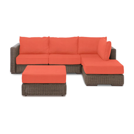Outdoor Chaise Sectional + Ottoman (Melon Sunbrella Cover)