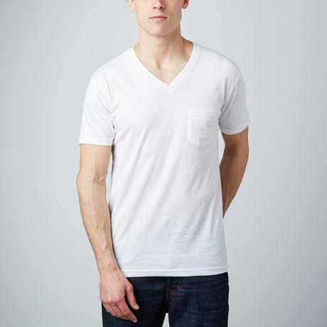Front Pocket V-Neck Tee // White