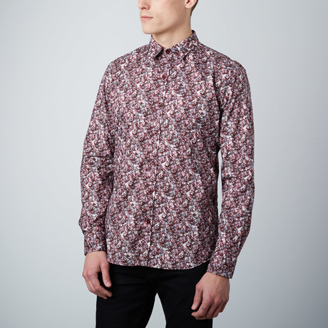 Kaleidoscope Button-Up Shirt // Burgundy