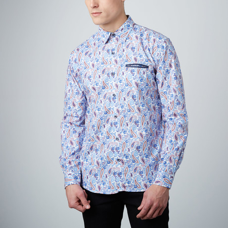Groovy Paisley Button-Up Shirt // Blue