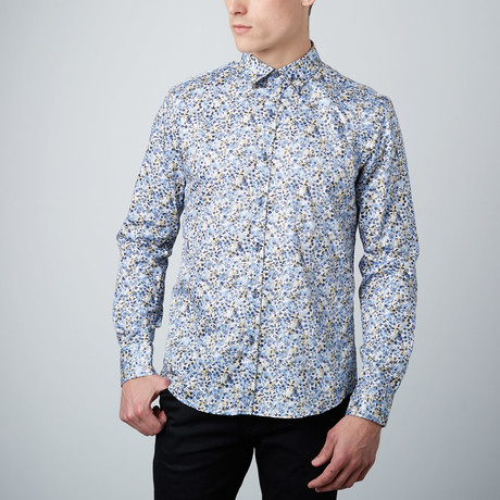 Cloudy Fields Button-Up Shirt // Blue