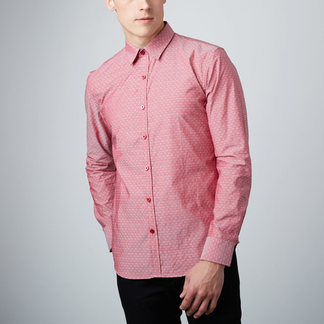 Floral Cuff Button-Up Shirt // Red