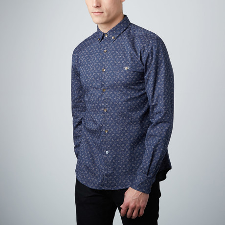 Paisley Stamp Button-Down Shirt // Navy