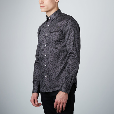 Overgrowth Button-Up Shirt // Black + Grey